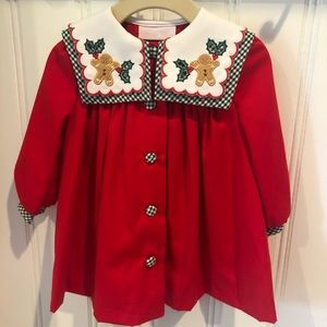 Bonnie Baby Red with Green Gingham Christmas Coat